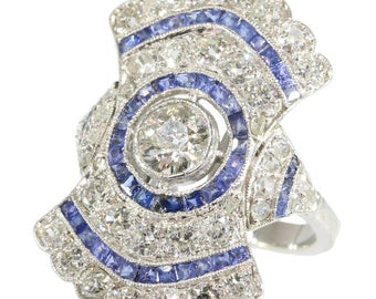 Fine diamond and sapphire Art Deco engagement ring platinum old European cut diamond blue cut sapphires 1920s