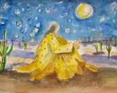Star Gazing original Southwester watercolor figurative painting 9x12 Art by Delilah