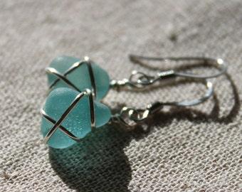 Genuine Sea Glass Earrings - Vintage Aqua Blue Sea Glass Earrings Wire Wrapped