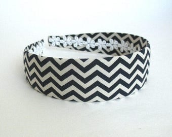 Navy Blue and White Chevron Pattern Wide Fabric Covered Headband, Girls, Adults, Women