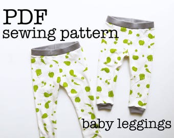 Baby Leggings Sewing Pattern Tutorial | Baby Pants | For Serger | Knit Fabrics | Stretch Materials | PDF Download | Printable | DIY