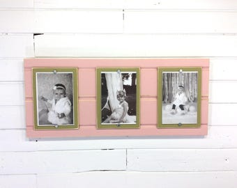 Distressed wood picture frame triple 4x6 blush pink and green