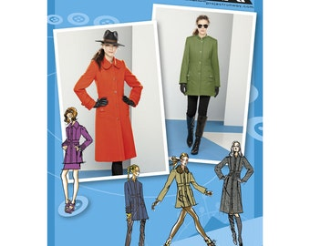 Sz 12/14/16/18/20 - Simplicity Coat Pattern 2057 - Misses' Coat or Jacket with Collar and Sleeve Variations - Project Runway Pattern