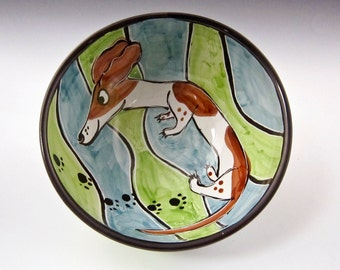 Ceramic Pottery Medium Bowl - Pied Dachshund Wiener Pet Dog -  Blue Green - Brown White Dog - Majolica Bowl - Handmade - Medium Serving Bowl
