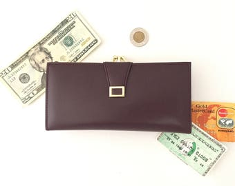 Checkbook Wallet for Women - Womens Wallet Checkbook Cover - Vintage Wallets Women Wallets Snap Closure Coin Pocket Travel Wallet