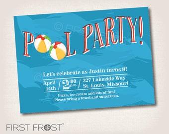 Pool Swim Party Printable Invitation - Birthday, Party, Celebration