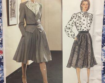Vogue 1322 UNCUT Mid 80s vintage pattern Vogue Paris Original Nina Ricci Jacket, Skirt, & Blouse Size 10