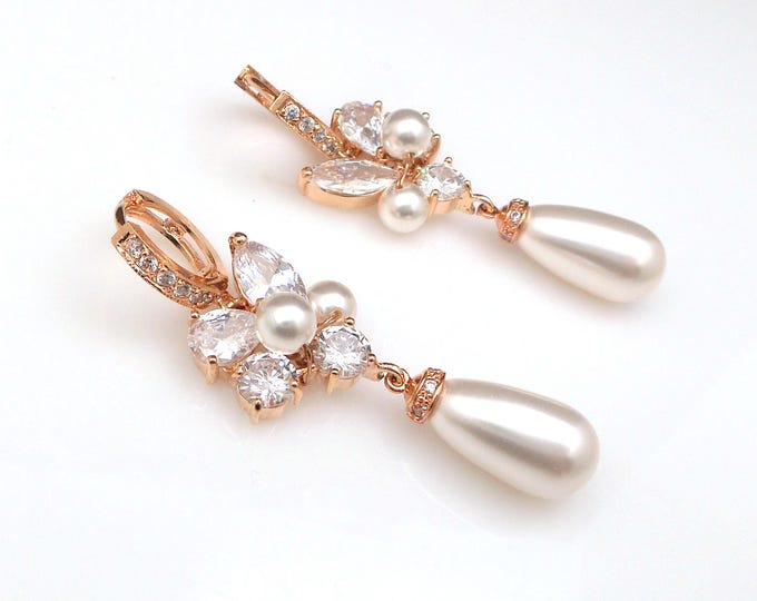 rose gold Wedding earrings bridal jewelry cubic zirconia click hoop white cream round pear pearls drop earrings cz marquise teardrop cluster