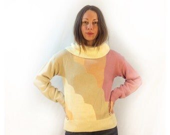 Vintage 70s 80s turtleneck cowl neck sweater // pastel colorblock knit pullover //  size medium // sherbet cloud rainbow swirl spring top