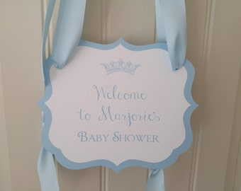 Baby Shower Welcome Sign with Crown for your Party Entry Way to Greet Your Guests as they Arrive baby Girl, baby Boy Shower Decor