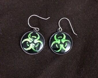 Green Biohazard Earrings