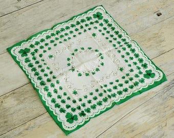 Vintage 50s Shamrock Clover Handkerchief/Hankie/Retro/Mid Century