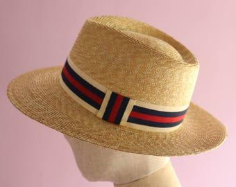 "Wide Brimmed Teardrop Straw Hat ""Sophie Trad"""