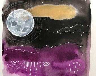 Moon Series #10 Original Painting Handdrawn Watercolor Gold Purple Ink Illustration