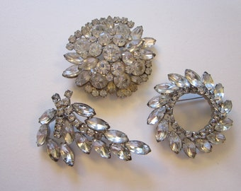 3 vintage rhinestone brooches - clear stones, no stones missing