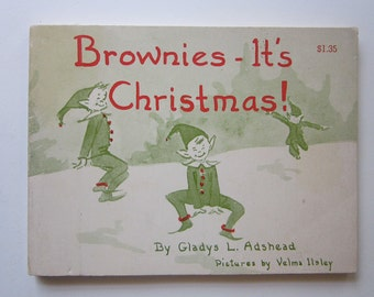 vintage book - BROWNIES It's Christmas - by Gladys L Adshead, circa 1955