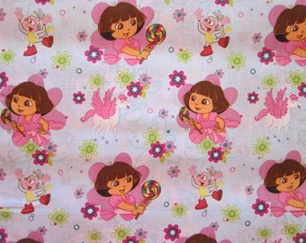 2 yards fabric - DORA Dancing with Rainbow N Horse - circa 2011 - Viacom Springs - all cotton