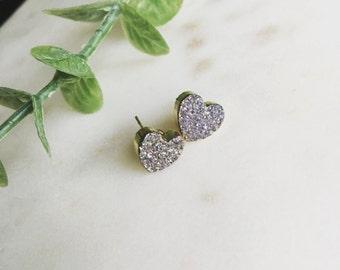 Heart druzy studs in lavender, modern pretty jewelry