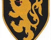 2 Large Lion Rampant patches - all red stitching