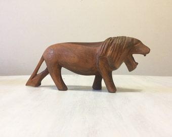 Hand carved lion, wooden lion, vintage lion figurine, vintage wooden figurine, wooden lion ornament, hand carved figurine, carved wood lion