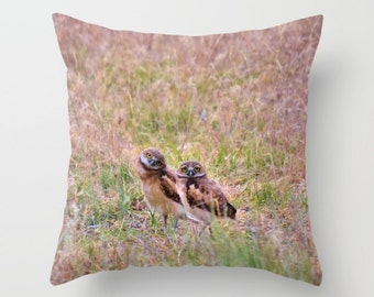 Baby Owls Pillow Cover, Throw Pillow, Woodland decor, Rustic Cabin Decor