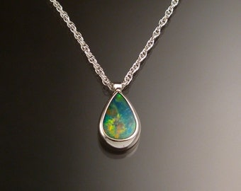 Blue Australian Boulder Opal necklace Sterling Silver large stone Natural solid Opal