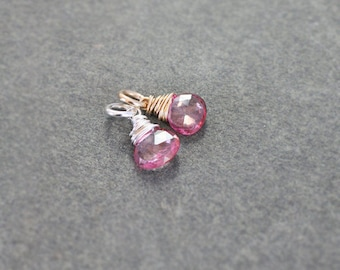 Pink Topaz Charm, Sterling Silver or 14 Karat Gold Filled Faceted Gemstone Briolette Pendant - Add a Dangle