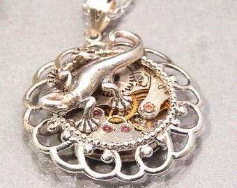 Sterling Silver Lizard Necklace Sterling Silver Steampunk Necklace Lizard Necklace Silver Steampunk Necklace