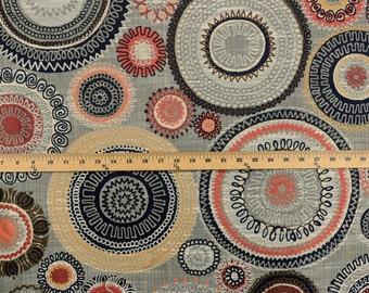 Riollo Saffron Swavelle Grey Suzani Upholstery Fabric