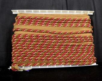 Red Green Chenille Lip Cord Fabric Trim