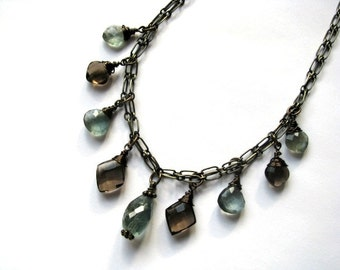 Moss Aquamarine and Smokey Quartz Multi Strand Necklace