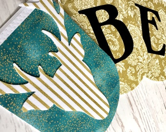 Believe Banner - Deer Home Decor - Winter Decor - Gold and Teal Banner