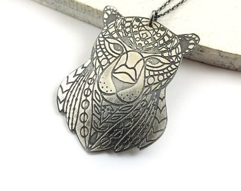 Etched silver necklace, sterling silver jewelry, tiger pendant