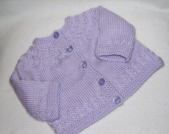 Baby Sweater in Purple Lavender Lilac for Baby 6 to 12 Months