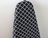 Ironing Board Cover - classic black with white geometric shapes with feint grey lines