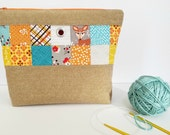 knitting project bag knitting bag patchwork bag patchwork pouch gift for knitters large zipper pouch project pouch