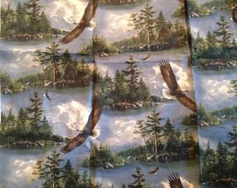 Bald Eagle Woodland Fabric Smerica USA Patriotic