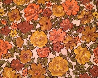 Vintage Curtain Panels Pair Rodpocket Retro Floral