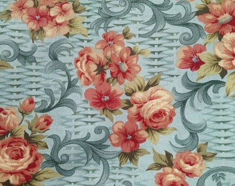 Flower Baskets Roses Cotton Quilting fabric