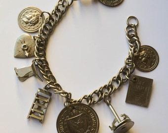 Charm Bracelet Silver Vintage Charms