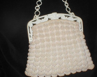 Vintage 1940's Ivory Crochet Clutch with Celluloid Frame and Chain