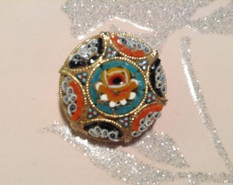 Vintage Mosaic Flower Brooch Glass 1970s