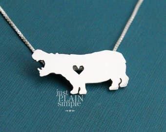 Hippopotamus, sterling silver necklace, handmade animal jewelry