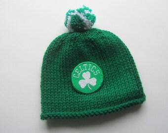 BOSTON CELTICS Hand Knit Baby Hat, Boston Baby Hat, Hand Knitted Baby Hat, Celtics Baby Hat, Boston Celtics, Boston Celtics Baby