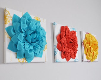 "CHOOSE YOUR COLORS- Dahlia Wall Flowers -Mix and Match Your Colors- 12 x12"" Canvas Wall Art- 3 D Felt Flower"