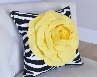 Throw Pillow Covers, Zebra Pillow, Animal Pillow cover, Animal print pillow, Pillows, Yellow Rose on Black Zebra Print Pillow, Safari, Zoo