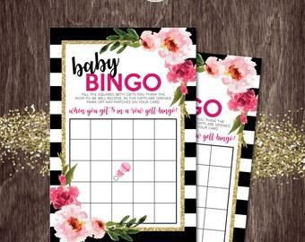 BABY SHOWER BINGO Card Black Stripe Gold Glitter Floral Kate  -- Instant Download