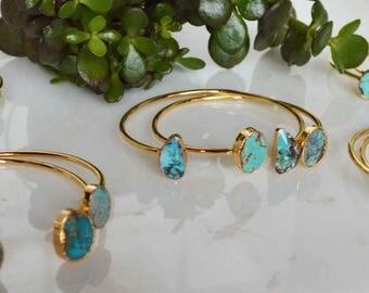 turquoise gold bracelet set, turquoise gold bracelet bangle set, adjustable turquoise gold bracelet set, double gold turquoise bracelet set