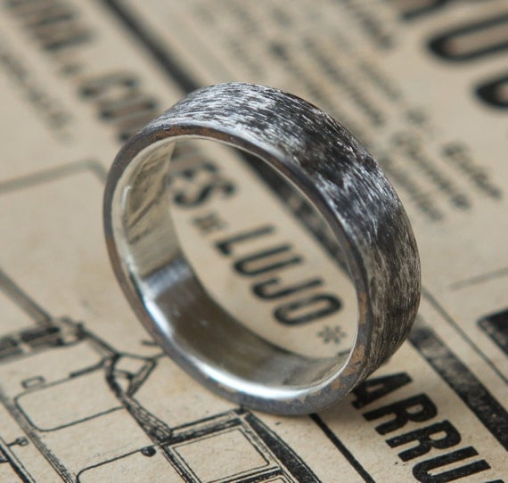 Rustic Man's Wedding Band Sterling Silver Ring Free Standard Shipping