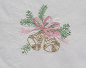 Vintage Christmas Tablecloth Embroidered Gold Bells. Pink Bows, Green Holly